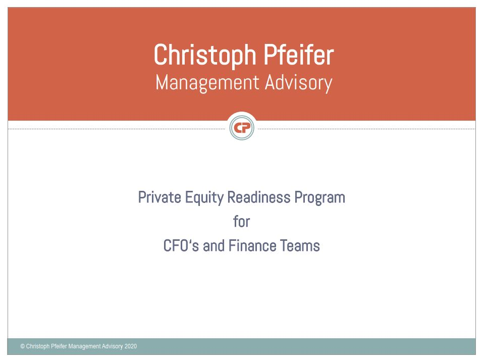 New – Private Equity Readiness Program
